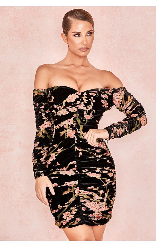 Noella Black Peach Floral Bardot Dress