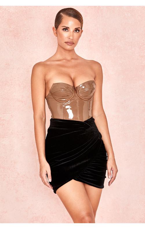 Edwina Black Gathered Velvet Mini Skirt