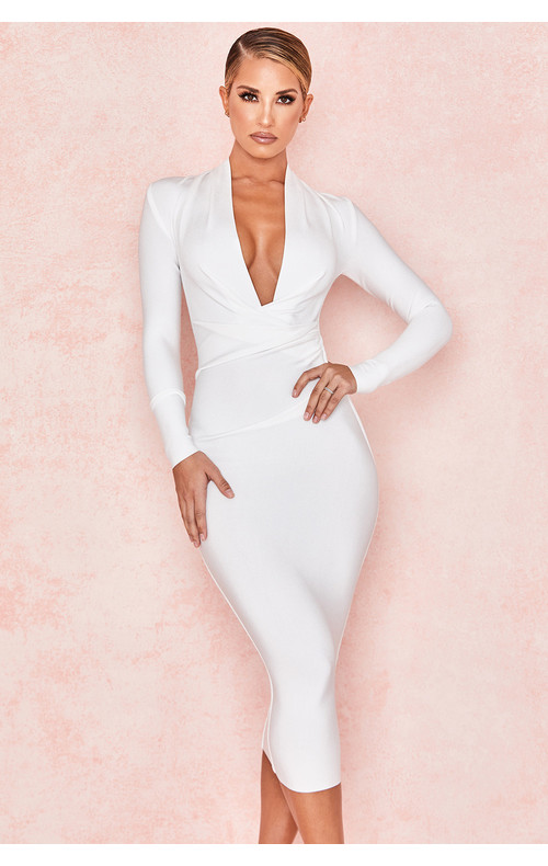 Francesca White Draped Bandage dress