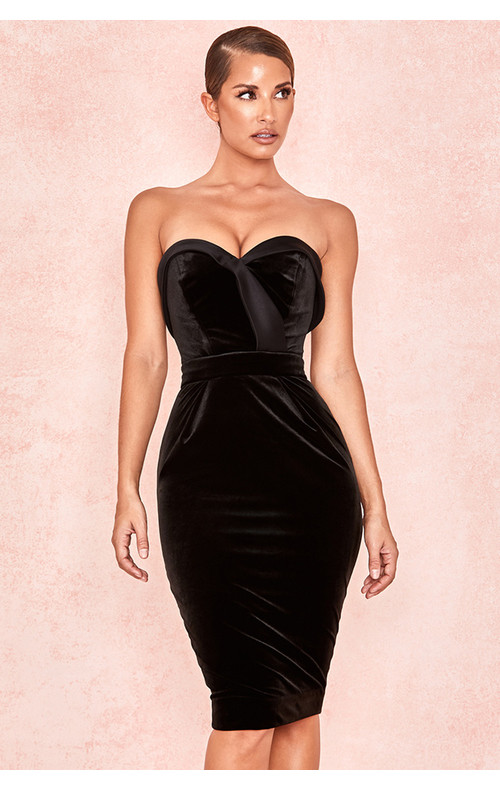 Ayla Black Velvet Satin Strapless Tux Dress