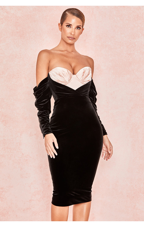 Fifi Black + Blush Velvet Boned Corset Dress
