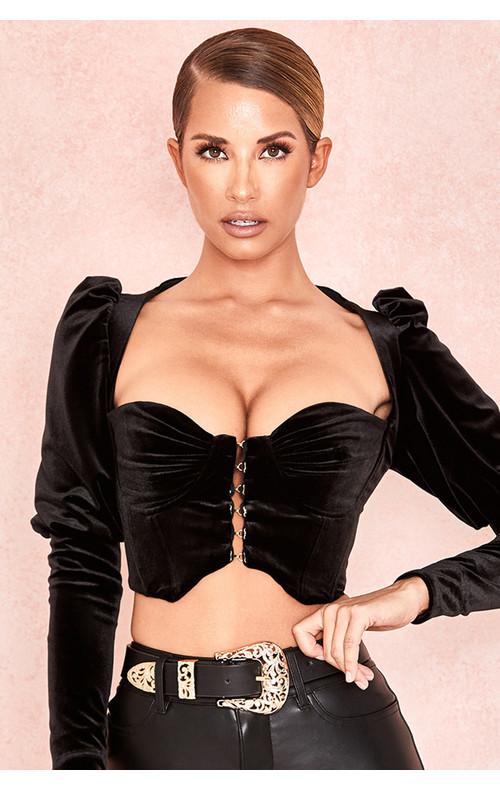 Karla Black Velvet Puff Sleeve Corset