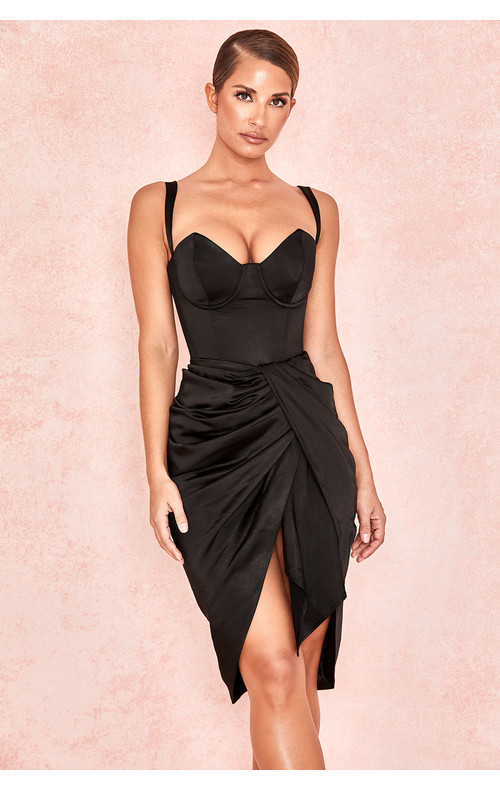 Miciela Black Silky Draped Skirt