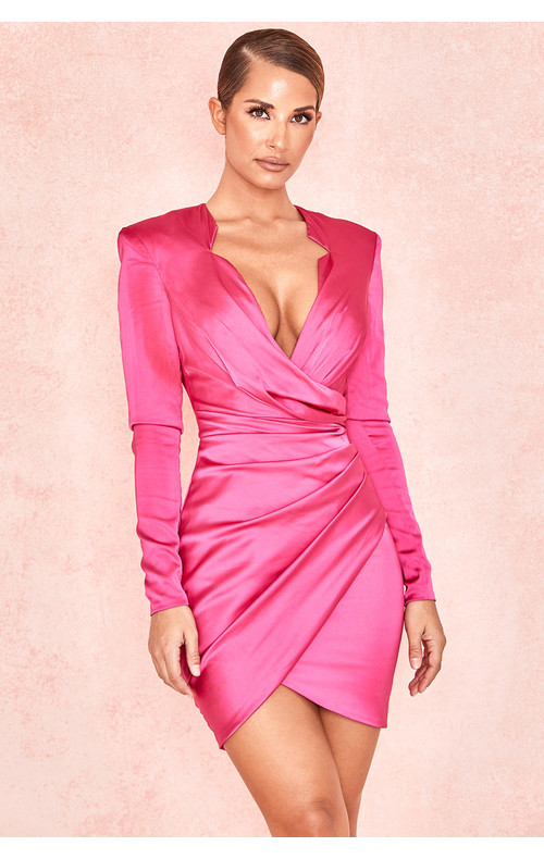 Nelinha Hot Pink Gathered Tux Wrap Dress