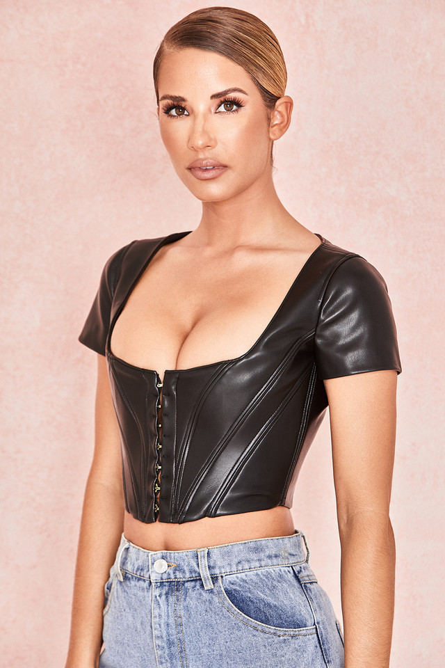 Abigail Black Vegan Leather Cap Sleeve Crop Top