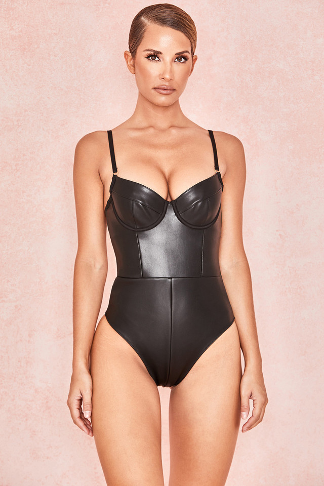 Carla Black Matte Vegan Leather Backless Bodysuit