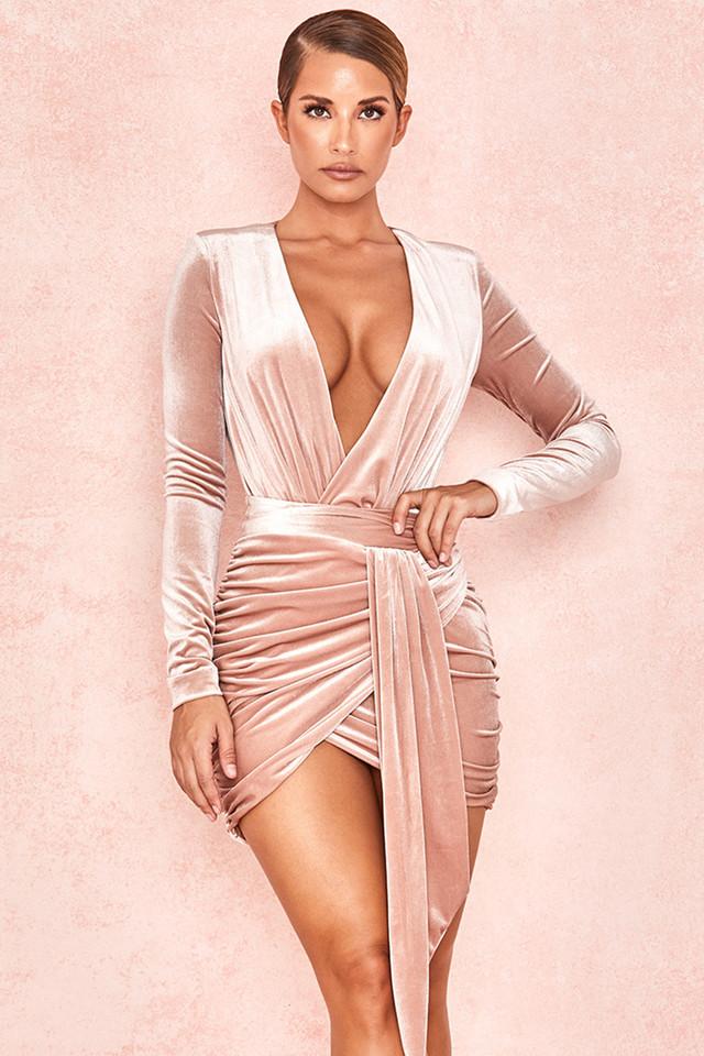 Farrah Blush Velvet Gathered Deep V Mini Dress
