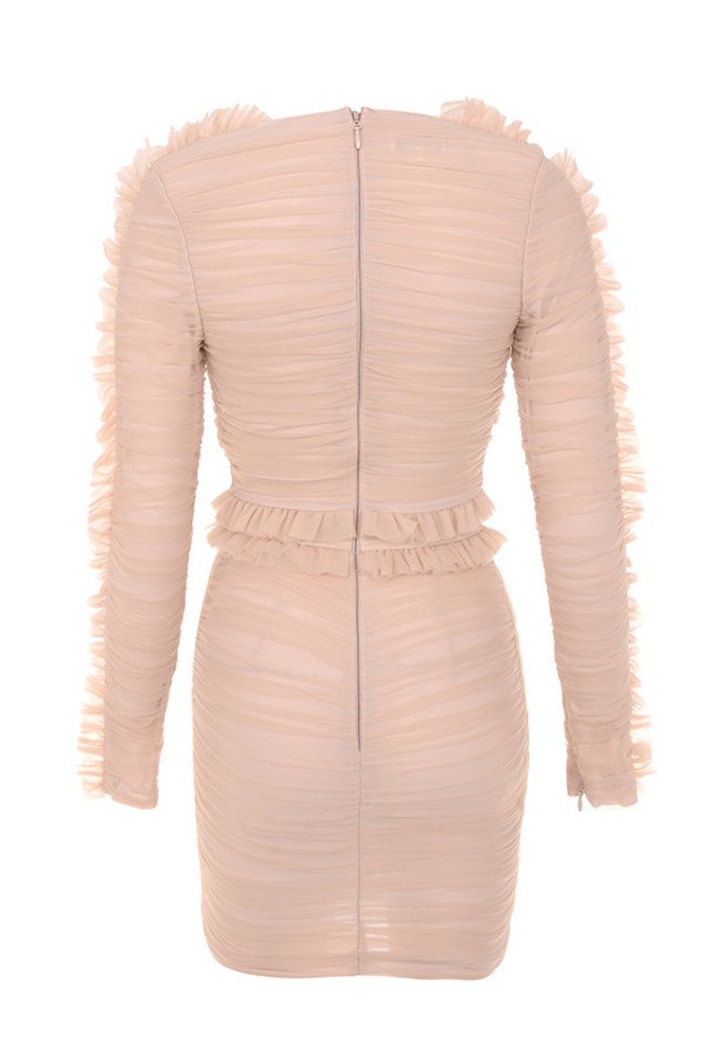 fluer dress in nude