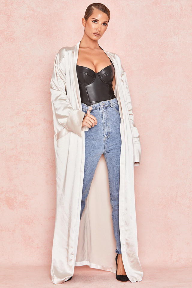 Leilani Ivory Satin Duster Coat