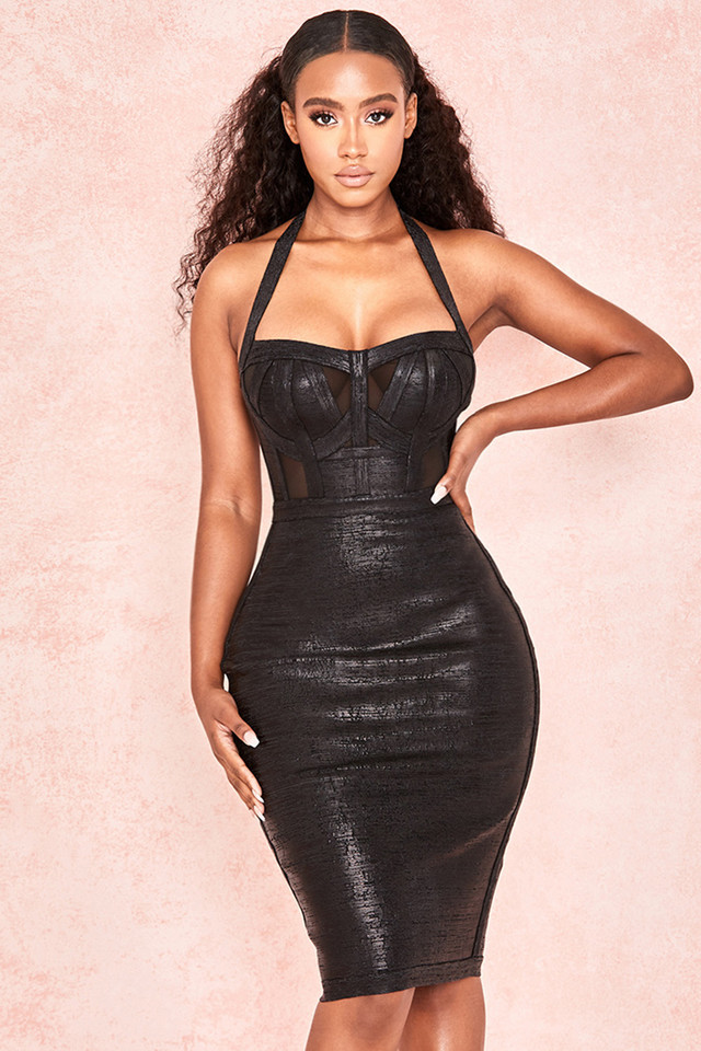 Mariella Black Wetloook Halter Bandage Dress