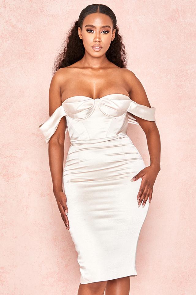 Rhoda Champagne Satin Bustier Bardot Dress