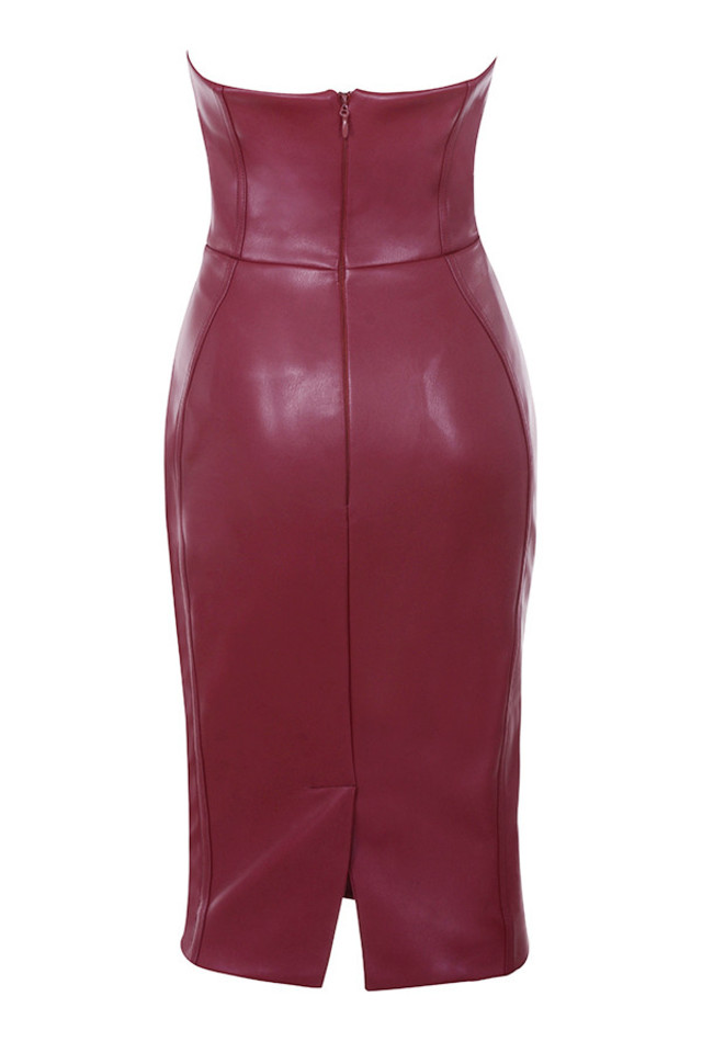 saskia dress in burgundy