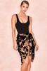 Augustina Black Floral Devore Velvet Wrap Skirt