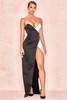 Clio Black + White Satin Strapless Maxi Gown