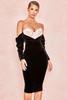 Fifi Black + Blush Velvet Boned Corset Dress