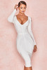 Raffaella White Ribbed Bandage Cold Shoulder Dress