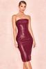 Saskia Burgundy Matte Vegan Leather Strapless Dress