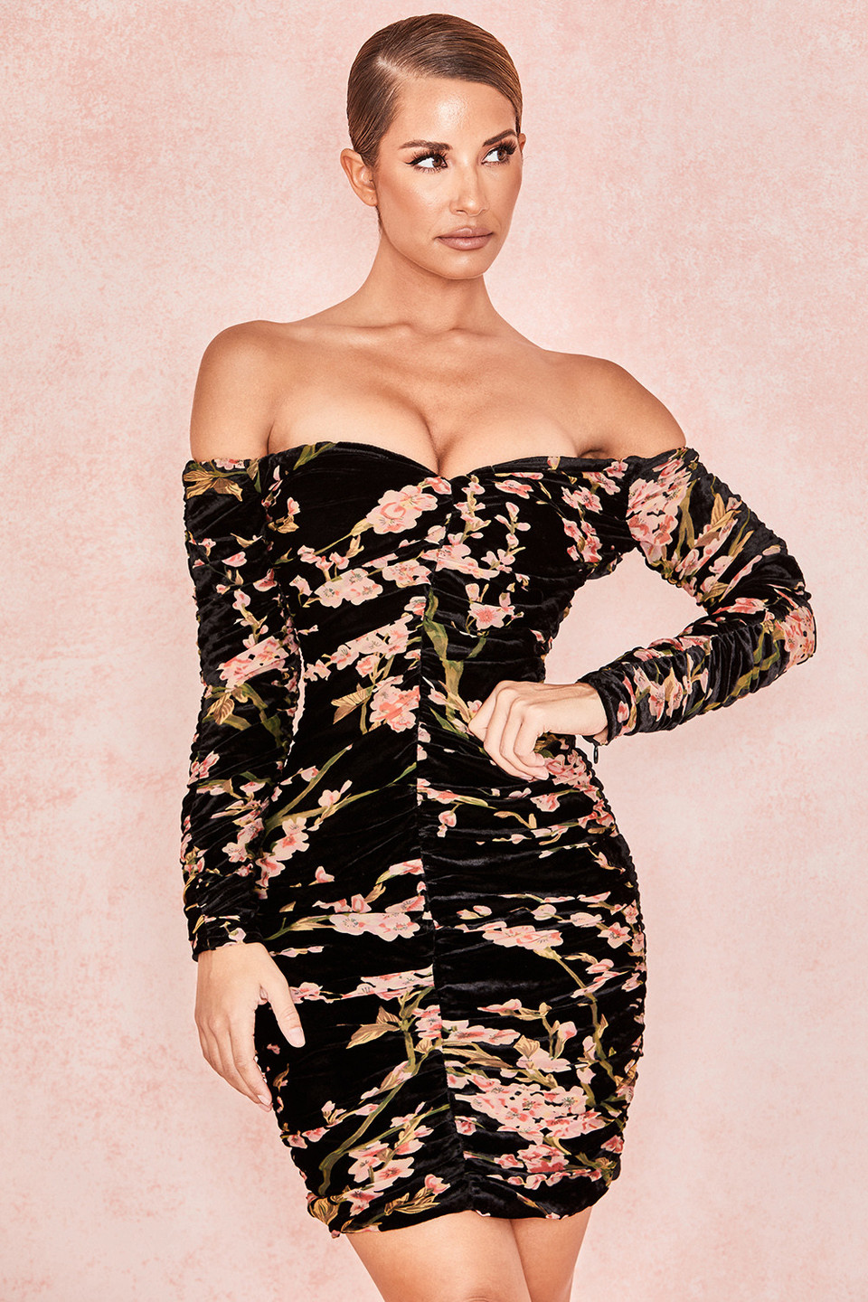 Noella Black Peach Floral Bardot Dress