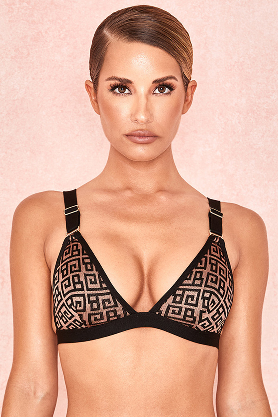 Milena Black + Tan Bandage Triangle Bra