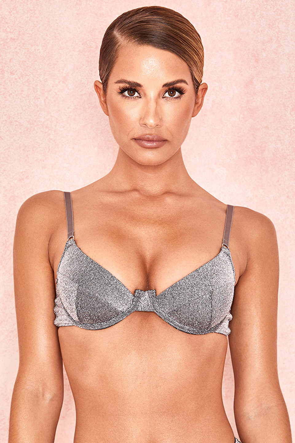 Alline Silver Sparkly Underwired Bra