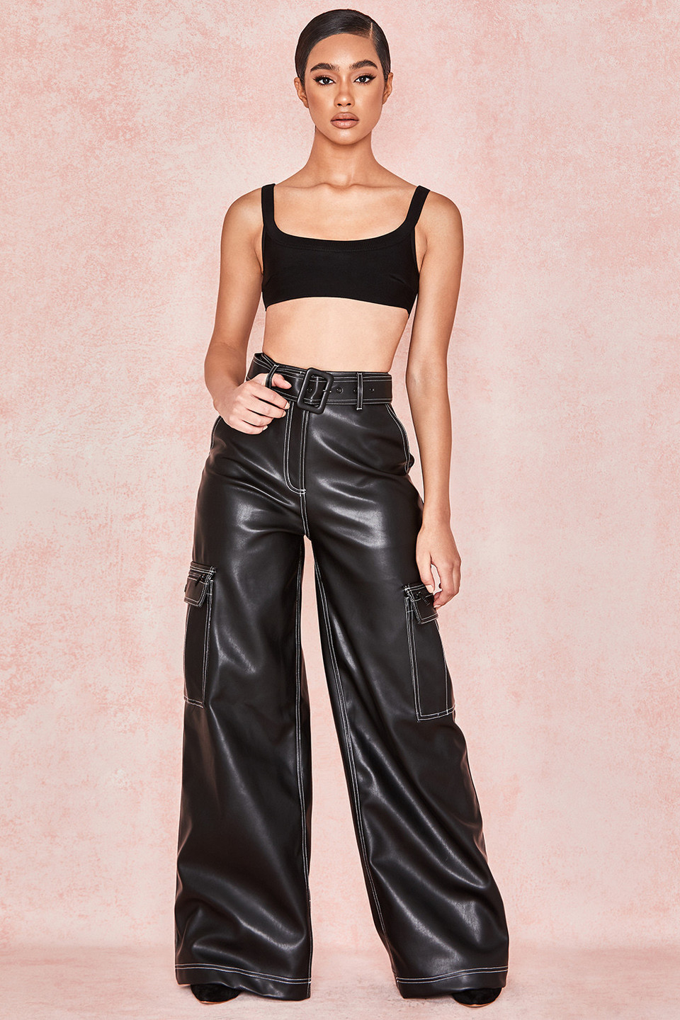 Analaya Black Vegan Leather Wide Leg Trousers