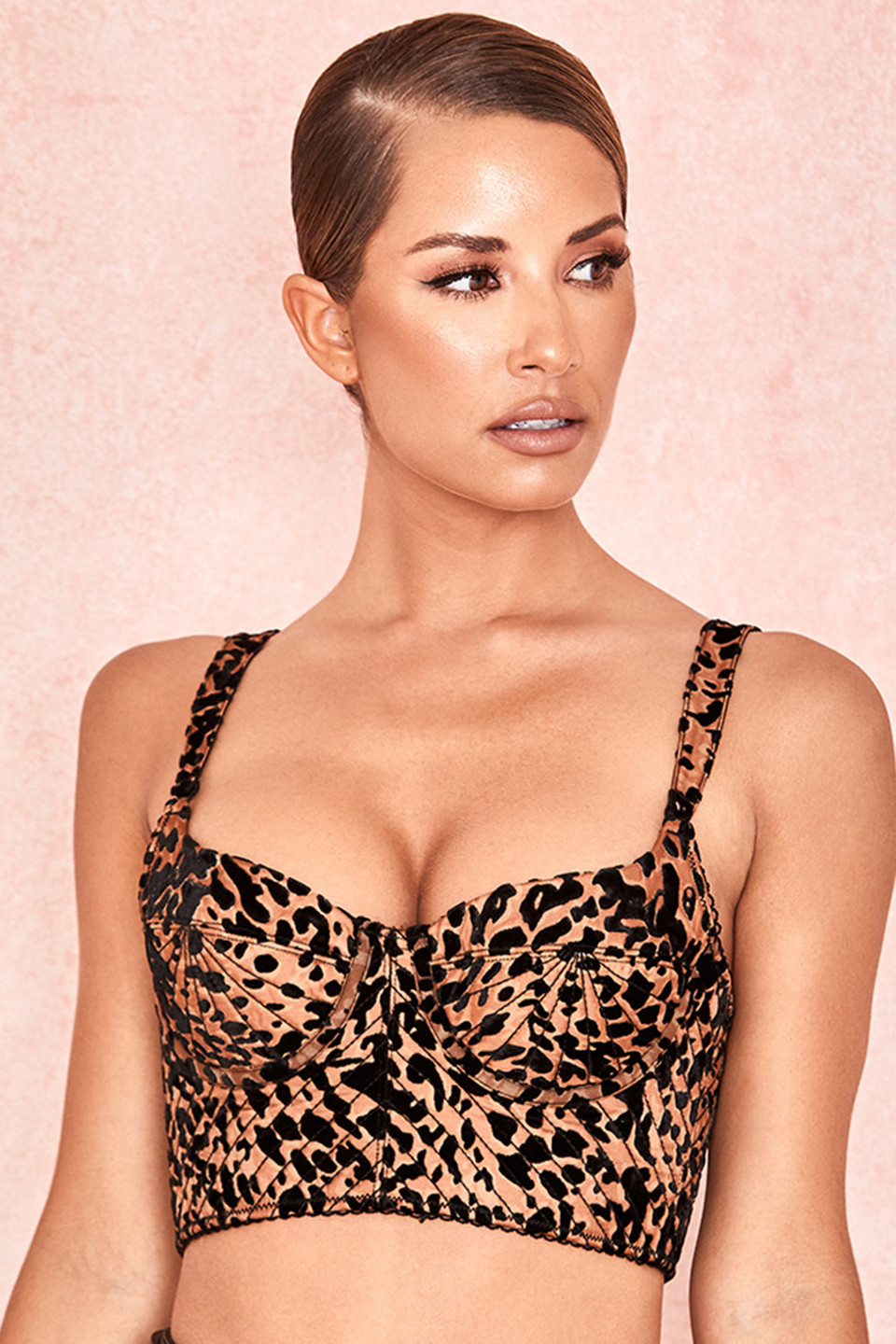 Chloe Leopard Print Quilted Devore Bustier