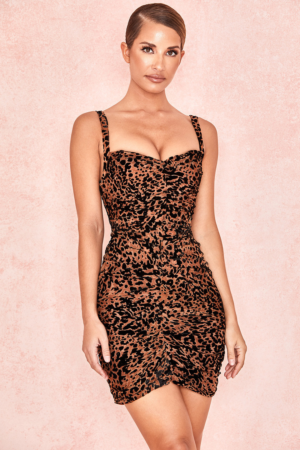 Cleo Black Tan Print Corset Mesh Dress