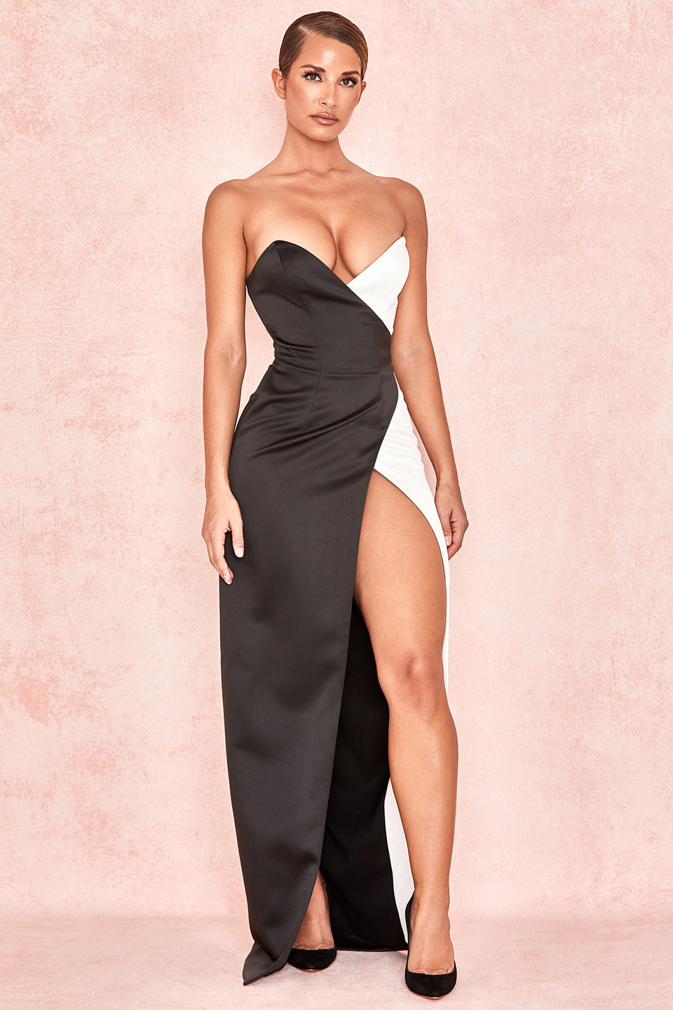 Clio Black + White Satin Strapless Maxi Gown