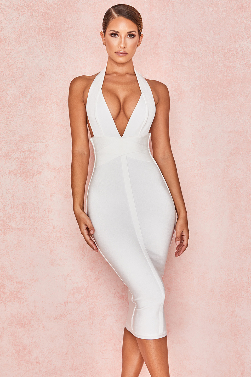 Courtney White Halter Neck Bandage Dress