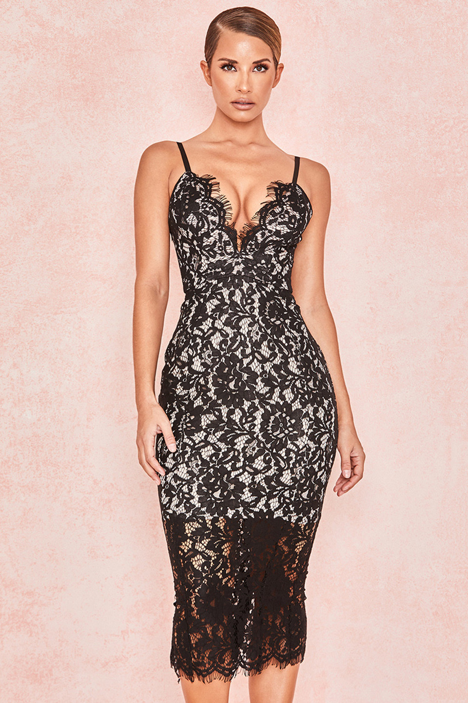 Edeta Black Lace Plunge Dress
