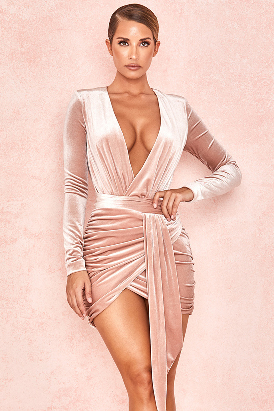 Farrah Blush Velvet Gathered Deep V Mini Dress