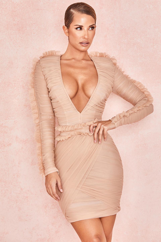 Fleur Blush Pleated Tulle Deep V Dress