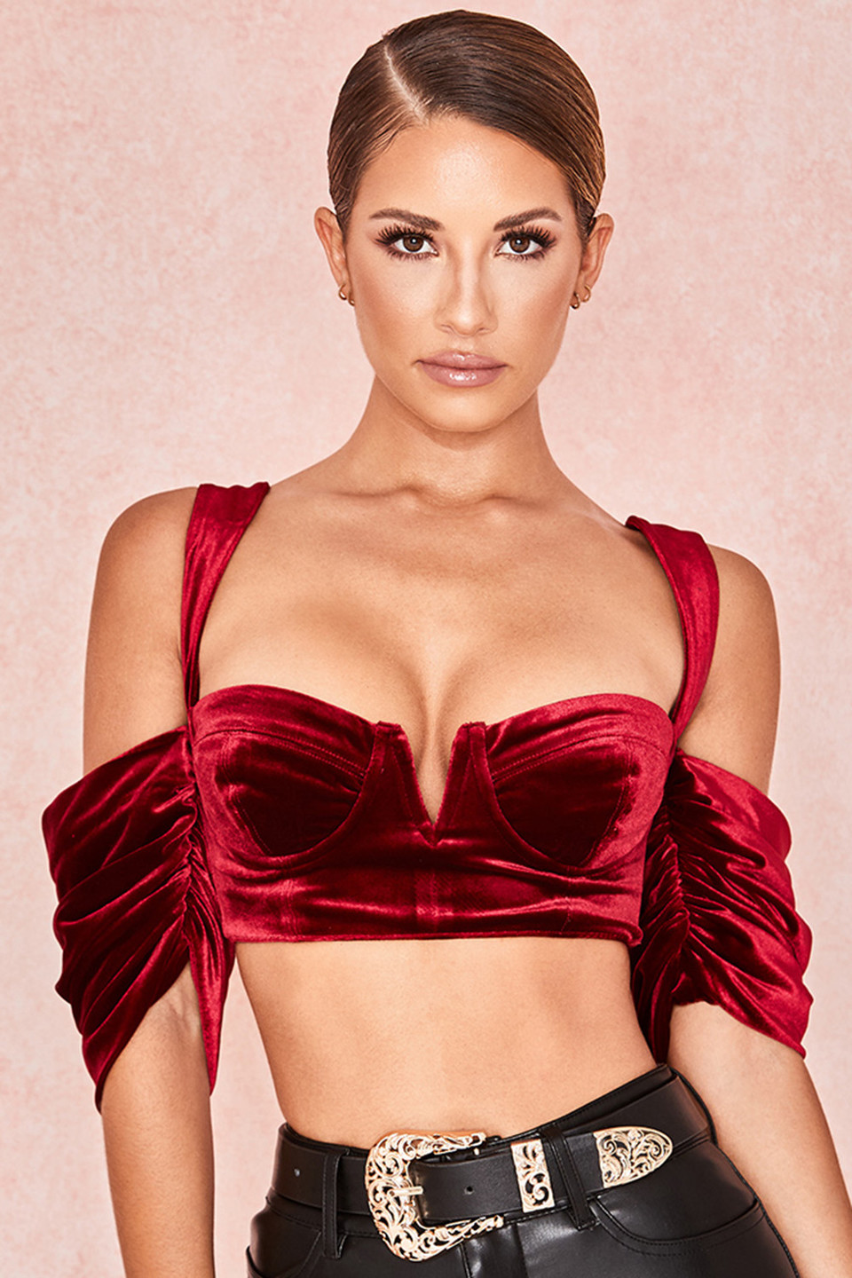 Monique Wine Velvet Bustier Bralette