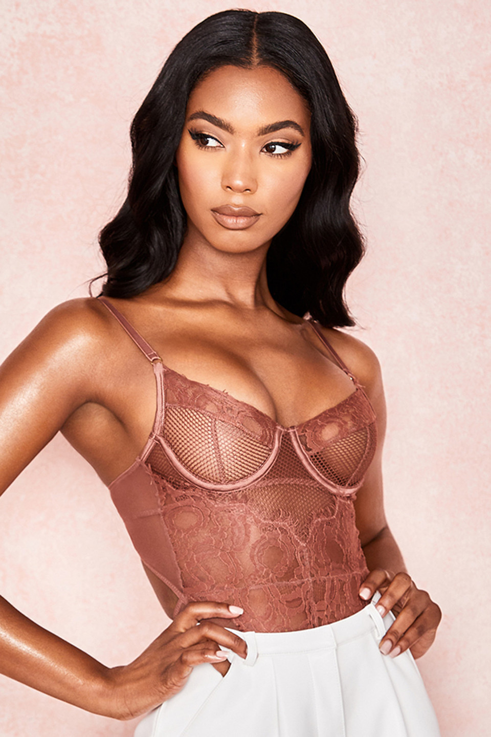 Nadia Chocolate Lace Bodysuit
