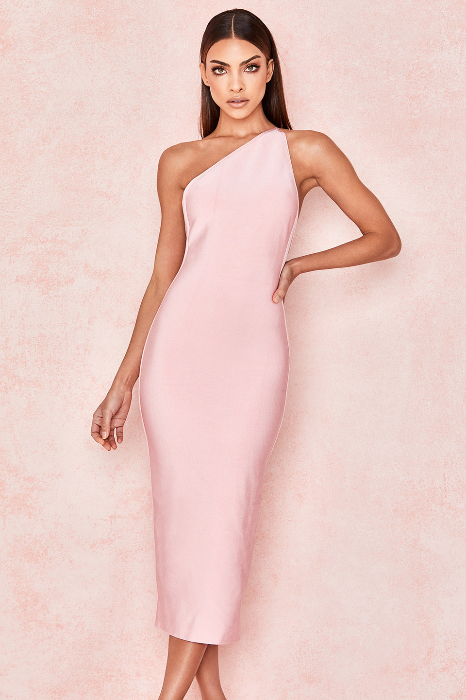 Sasha Pink One Shoulder Bandage Dress