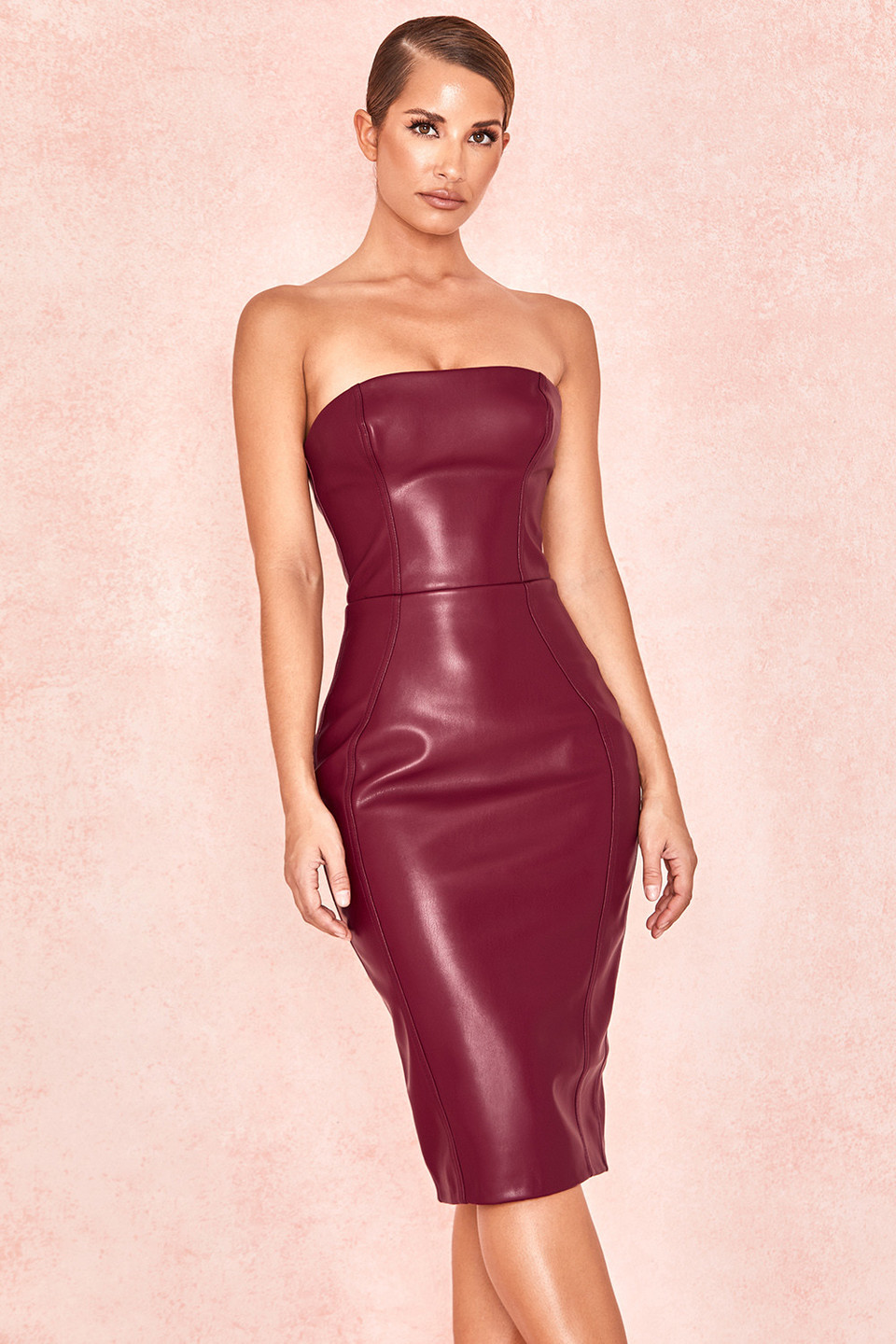 Saskia Burgundy Matte Vegan Leather Strapless Dress