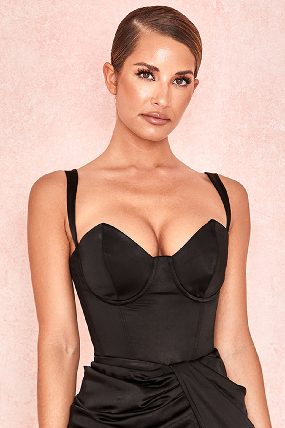 Vivi Black Stretch Satin Bodysuit