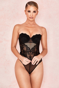 Isa Black Lace Bodysuit