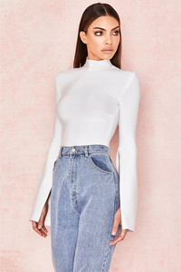 Leandra White Bandage Slash Sleeve Bodysuit