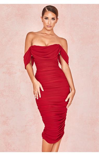 Carlotta Wine Ruched Draped Chiffon Dress