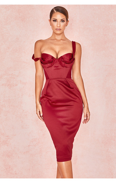 Charlotte Wine Satin Draped Bustier Dress
