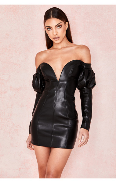 Clarita Black Vegan Leather Puff Sleeve Dress