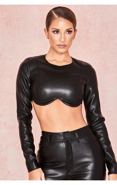 Esme Black Vegan Leather Shaped Bust Top