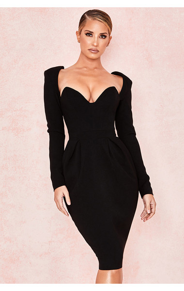 Faith Black Long Sleeved Crepe Dress