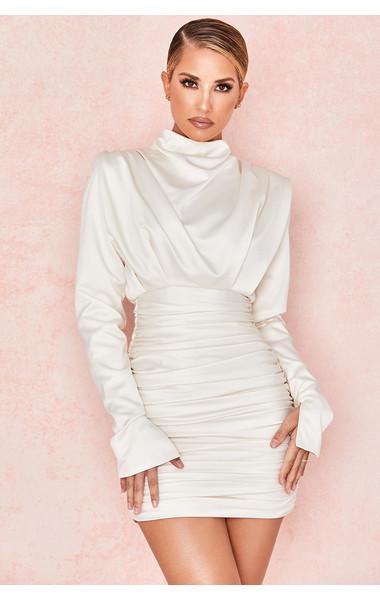 Giorgiana Ivory Satin Draped Mini Dress