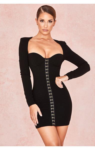 Lala Black Long Sleeve Bodice Dress