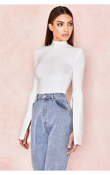 Leandra White Bandage Slash Sleeve Bodysuit