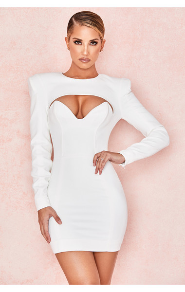 Olinda White Crepe Cut Out Mini Dress