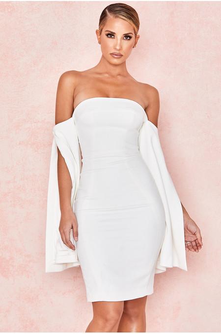 Rhea White Strapless Slit Sleeve Dress