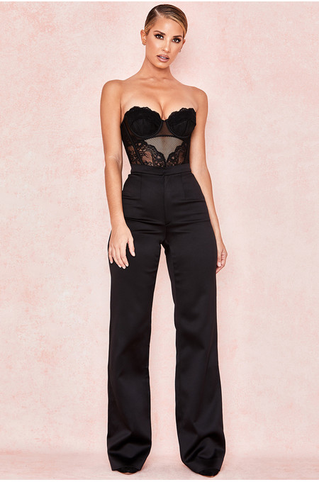 Amalia Black Satin Flared Trousers